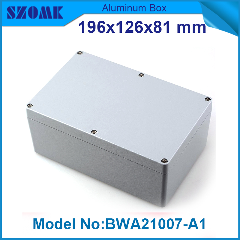 1 piece free shipping powder coating aluminium junction housing box for waterproof router case 81(H)x126(W)x196(L) mm free shipping 1piece lot top quality 100% aluminium material waterproof ip67 standard aluminium electric box 188 120 78mm