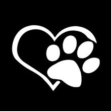 Dog Heart Shape Pattern Paws Car Sticker Footprint Reflective Auto Waterproof Sun Resistant Window Sheeting 3D Decal(China)