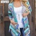Nuevo Otoño de La Vendimia de La Muchacha Irregular Blusas Suéteres de Banda Kimono Cardigan de Punto Flojo Geométrica Cardigans Tallas grandes