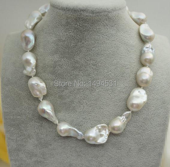 Very High Luster 15-18mm Kasumi Like Pearls Light,Big Pearl Necklace, Huge Nucleated Pearl Necklace White Keshi Pearl Necklace