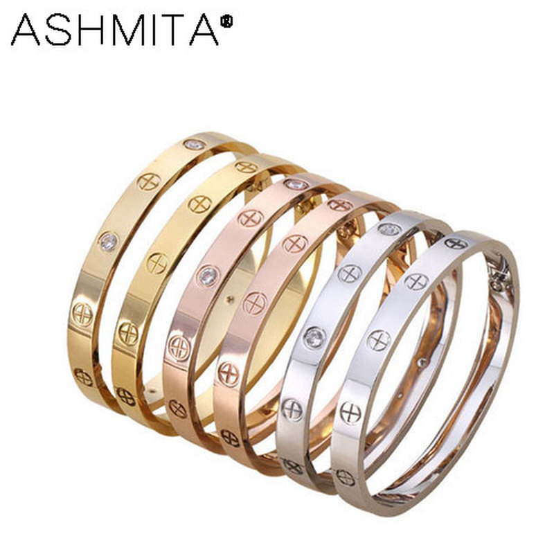 ASHMITA 2019 Luxury Design Titanium Steel Horizontal Screw Love Bangles Women Men Driver  Bracelets Pulseira Feminina