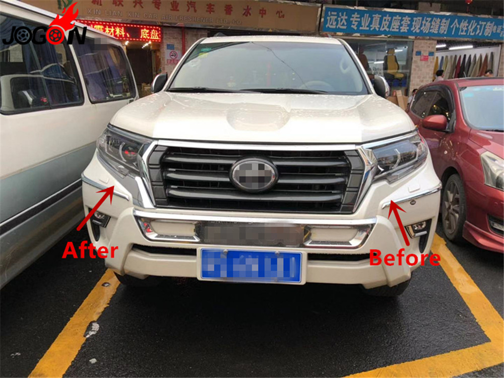 2pcs Accessories ABS Car front headlights under Lips trim For Toyota Land Cruiser Prado Fj150 2018