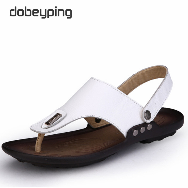 Genuine Leather Summer Sandals Mens Casual Shoes Flip Flops Man Beach Slippers Super Light Dual- Use Shoes Chinelos Masculina