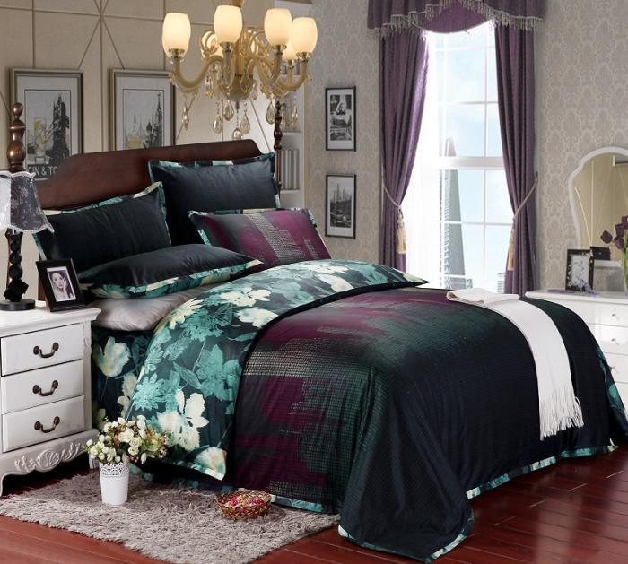 Blue Floral Luxury Bedding Set Queen King Size Egyptian
