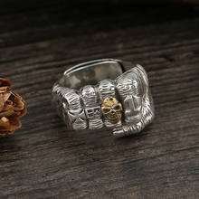 S925 sterling silver old fist open ring domineering punk personality open ring 999 restoring ancient ways fu lu shou sterling silver ring men width domineering silver plate ring ring