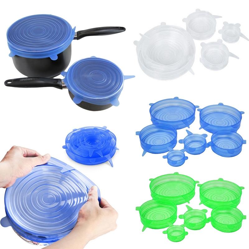 6 unids/set tapas de silicona Universal succión del estiramiento cubierta olla Pan cubierta del silicón tapa de derrame tapón Bowl casa cubierta