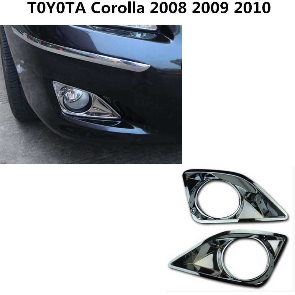 Car body front fog light lamp frame stick styling ABS Chrome cover trim parts 2pcs For TOYOTA Corolla 2008 2009 2010