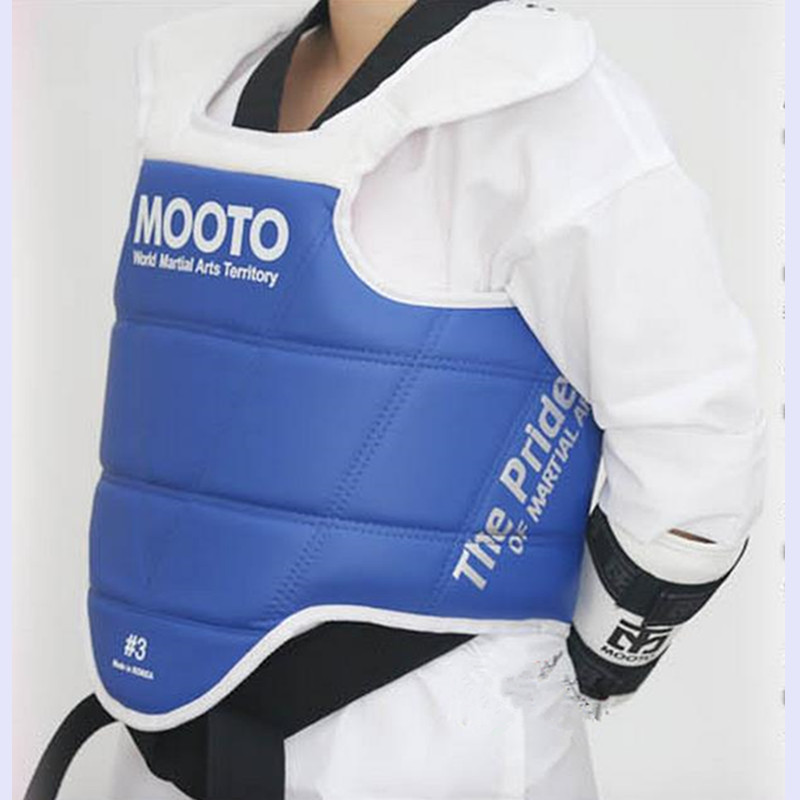 ФОТО MOOTO Taekwondo Chest guard back support karate vest MMA kickboxing tae kwon do chest Protector chest gear Reversible protection