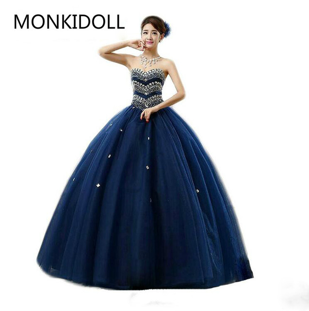800d02865882c US $180.81 18% OFF|New design ball gown navy blue princess prom dress  heavily beading crystals sparkly cheap prom dresses best selling-in Prom  Dresses ...