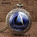Retro Star Trek pocket watch necklace Long Chain Antique Bronze Carving Quartz Watch Pendant Mens Hour Relogio De Bolso