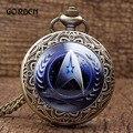 Retro relógio de bolso colar Longa Cadeia de Bronze Antigo Escultura de Star Trek Relógio Pingente de Quartzo Hora Mens Relogio De Bolso