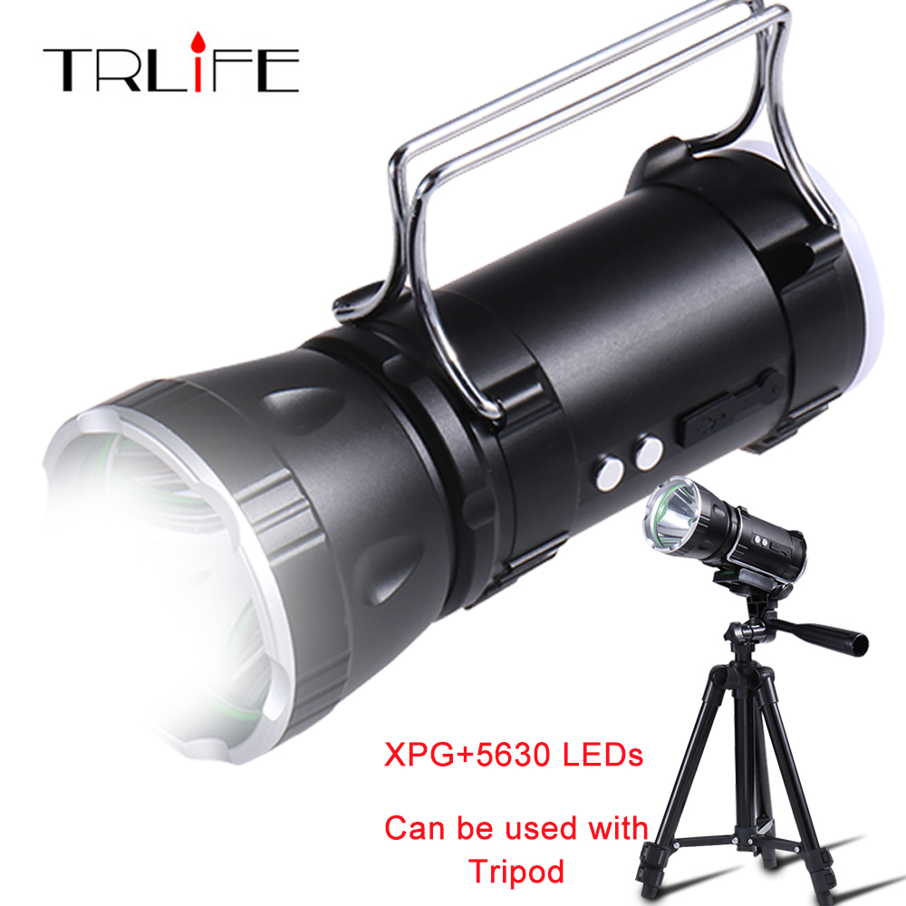 300W LED Flashlight Camping Ultra Powerful Searchlight XPG+5630 LED Built-in 6000mAH Battery Lamp Rechargeable Power Bank Tripod