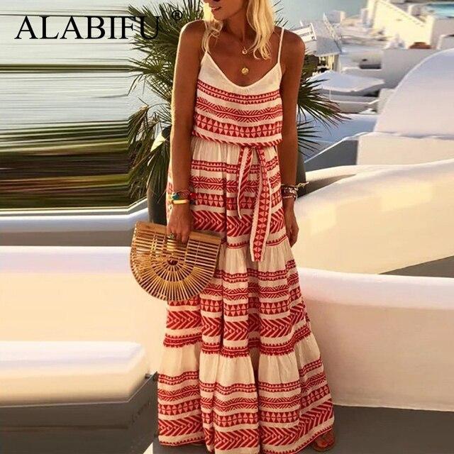 ALABIFU Plus Size Striped Summer Dress Women 2019 Casual Boho Holiday Beach Maxi Dress Sexy Strapless Long Party Dress Red 5XL