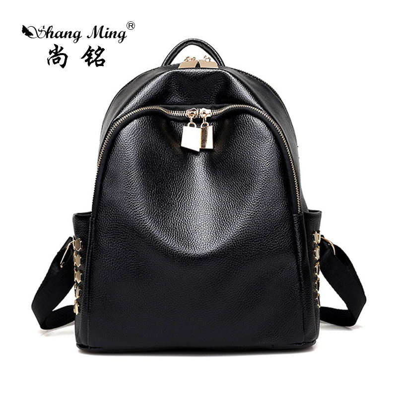 ShangMing 2017New Arrival Spring Women Backpack Simple Casual School Bag Medium Size Leather Backpack Girl s