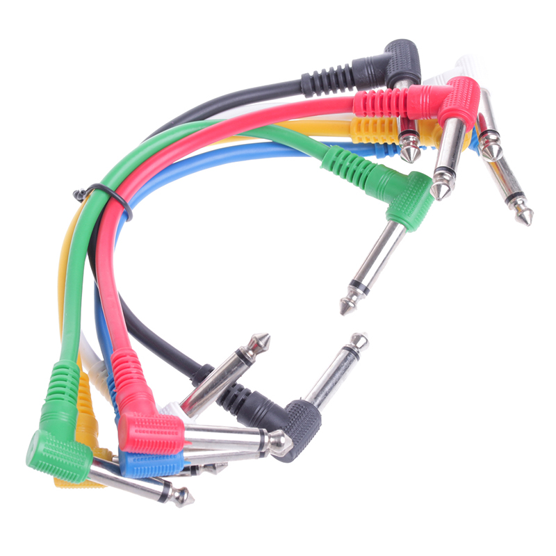 6Pcs/Set Guitar Parts Colorful Angled Plug Audio Cable Leads Patch Cables For Guitar Pedal Effect