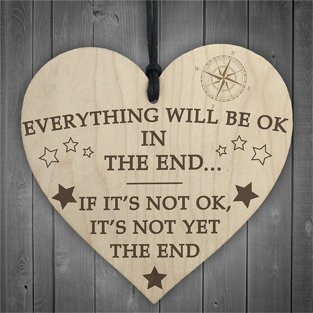 (Everything Will Be OK In The End) Wooden Heart Wood Craft Plaque Sign Special Christmas Home DIY Tree Decoration Small Pendant