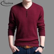 Marka Thoshine styl na wiosnę i jesień mężczyźni sweter z dzianiny Twill cienkie guziki z dekoltem w serek męskie swetry na co dzień jednokolorowe bluzy Homme