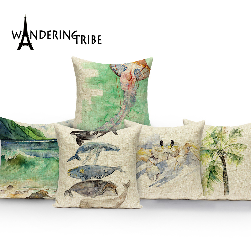 Watercolor Cushion Decorative soft seat car Covers linen Fish Sea Horse Marine Throw almohada home dector Printing pillow cases