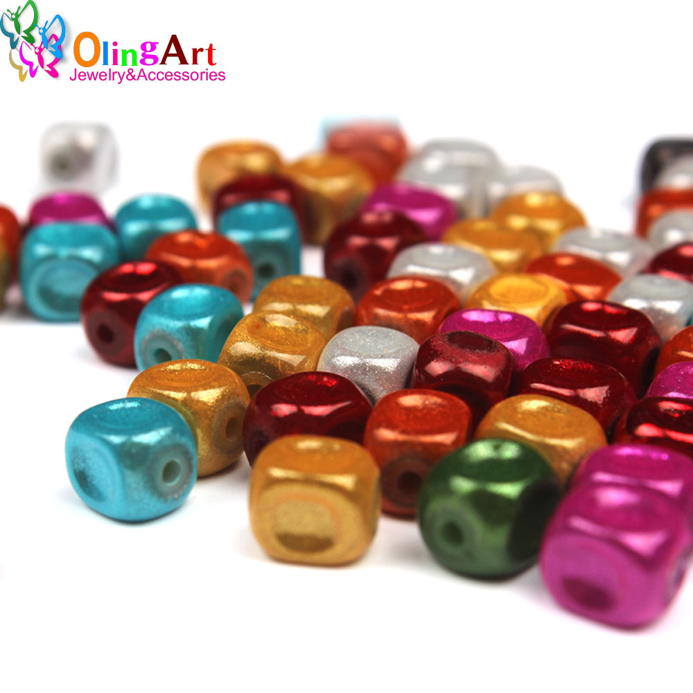 OlingArt 8mm 100pcs Mixed Color 3D Illusion Miracle beads Acrylic Spacer bubblegum Fantasy Style DIY necklace jewelry making