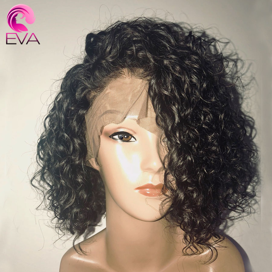 150% Density Short Curly Lace Front Human Hair Wigs Pre Plucked With Baby Hair Brazilian Remy Hair 13x6 Bob Lace Front Wigs Eva