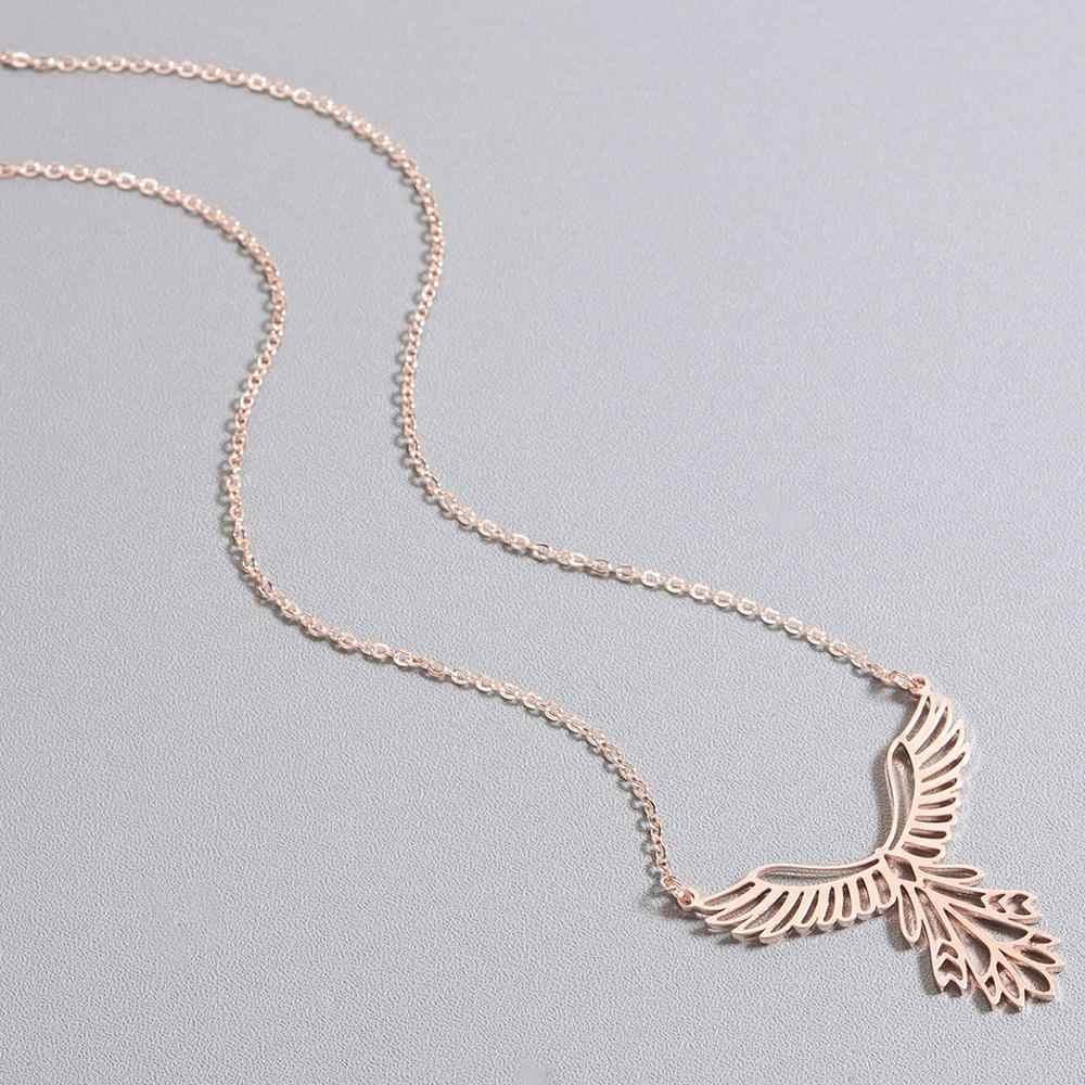 Chandler ze stali nierdzewnej Phoenix naszyjnik Origami ptak wisiorek prezent przynoszący szczęście łańcuch Chokers Bijoux Homme Femme Bijoux hurtowych