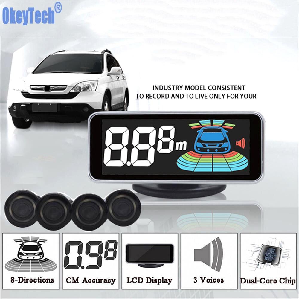 OkeyTech Parktronic Sensor de aparcamiento 4 Sensor de marcha atrás Detector de Radar LED sistema de alarma de asistencia de aparcamiento Digital para todos los coches