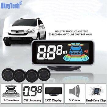 OkeyTech Sensor de aparcamiento parktronic 4 Sensor de marcha atrás Detector de Radar LED Digital asistencia de aparcamiento sistema de alarma para todos los coches