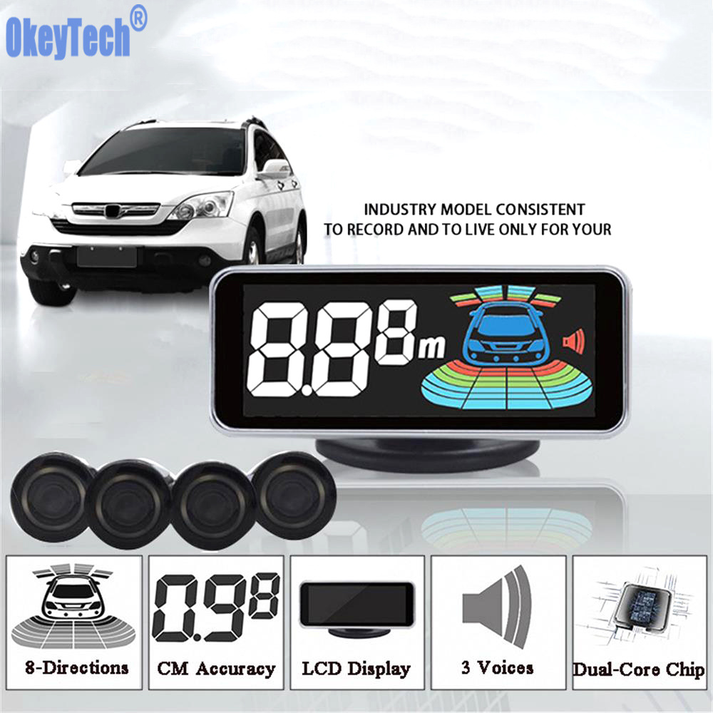 Sensor de Estacionamento Parktronic OkeyTech 4 Sensor Invertendo Radar Detector Digital LED Car Estacionamento Assistência Sistema de Alarme de Carro PARA Todos Os Carros
