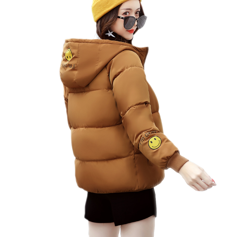 2017 New autumn and winter Jacket Cotton-Padded Smile decals Parkas Women Winter Coat Women's Warm Outwear Thin Coat High Qualit mozhini women spring autumn parkas lady long warm jacket padded warm jacket winter coat warm outwear thin padded cotton jacket