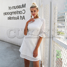 CUERLY Elegant hollow out lace dress women Half sleeve summer style midi white dress 2019 Spring short casual dress vestidos цена и фото