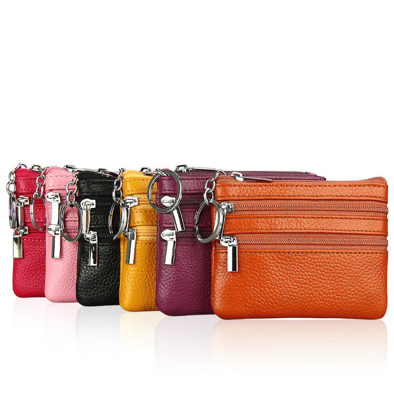 2017 Fashion Genuine Leather Women Wallet Wallet ID Card Holder Coin Purse With Double Zipper Women's Wallet Men Wallet oi cat