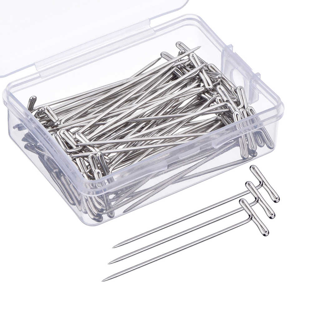 100pcs 51mm Stainless Steel T Pins Head Sewing Needles Stitch Straight Pins Dressmaking Pins Quilt Applique Sewing Accessories