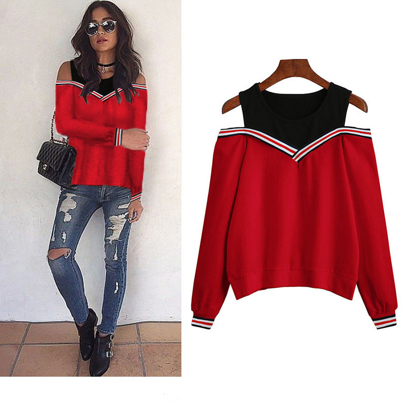 Women Pieces Blouse Hollow Out O-Neck Femme Shirt Blouses Long Sleeve 2018 Sexy Off Shoulder Splice Ladies Tops Casual Fake Two