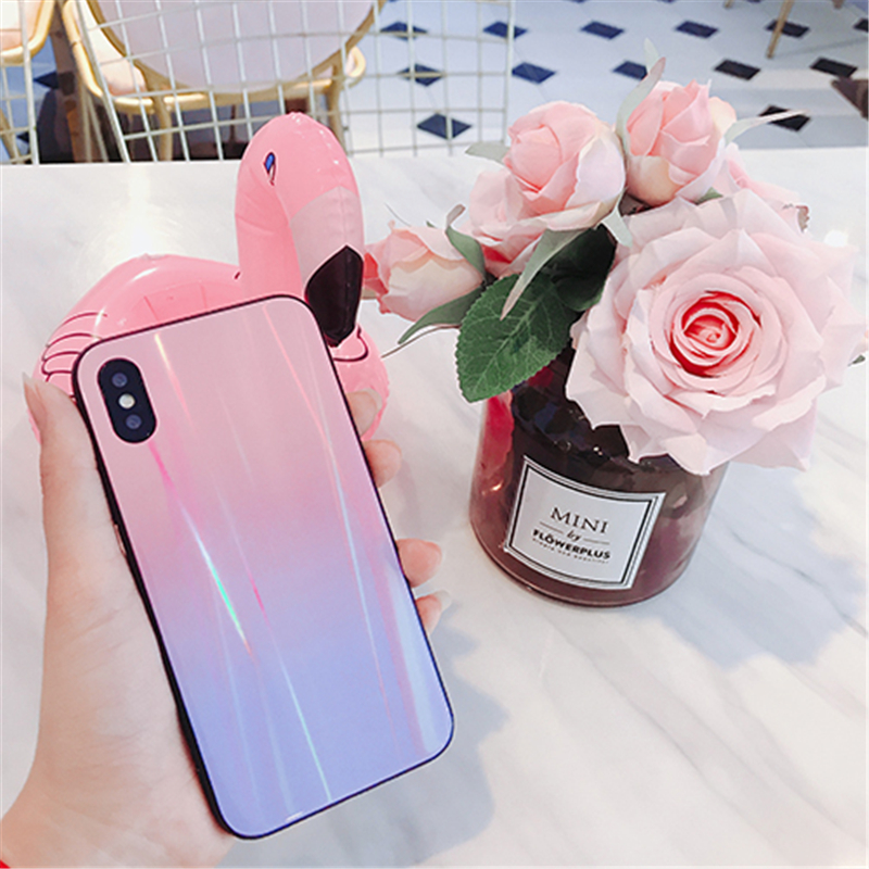 BONVAN For iPhone X 7 8 Plus Tempered Glass Back Case Gradient Color Laser Aurora Silicone Bumper For iPhone 7 6S 8 6 Plus Cover12