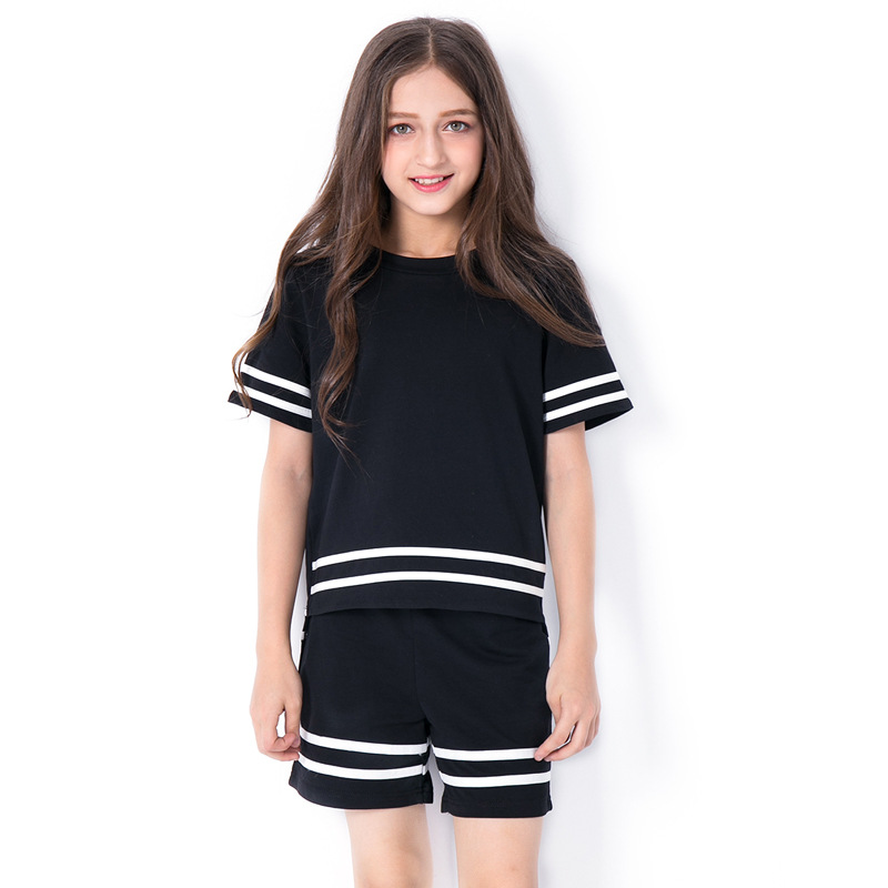 Fashion Girls Sport Suits Two Piece Tops Shorts Girls -3870