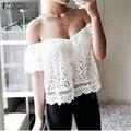 Новая Мода Blusas Femininas 2017 Лето Женщины Блузки Кружева Рубашки С Коротким Рукавом С Плеча Slash Шея Sexy Топы Плюс Размер