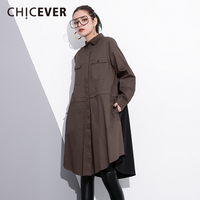 CHICEVER 2018 Spring Back Patchwork Women Dress Long Sleeve Loose Big Size Hit Colors Dresses Female Clothes Fashion Casual New
