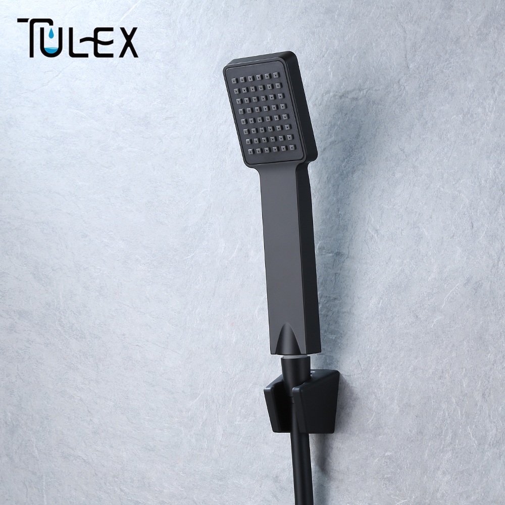 TULEX Black Handheld Shower Head ABS Plastic Bathroom Sprayer Water Saving Hand Shower Single Function For Bathroom AccessoriesTULEX Black Handheld Shower Head ABS Plastic Bathroom Sprayer Water Saving Hand Shower Single Function For Bathroom Accessories