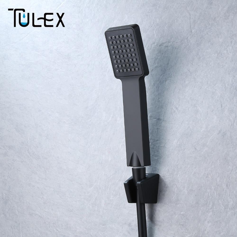 TULEX Black Handheld Shower Head ABS Plastic Bathroom Sprayer Water Saving Hand Shower Single Function For Bathroom Accessories