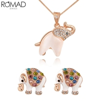 ROMAD Elephant Necklace Women Rose Gold Zircon Necklace Wedding Elephant Pendant Necklaces Animal Chokers Necklace Girl Colar R5 stunning rhinestoned elephant pendant necklace for women