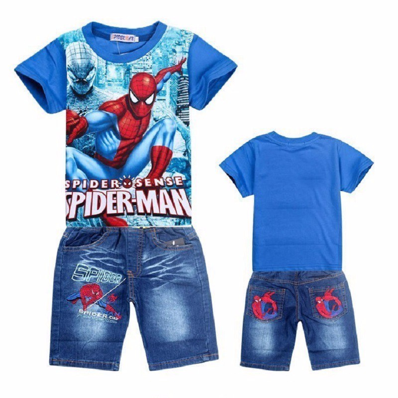 2-11Y Children Kids Spiderman Denim Clothing Set Teenage Boys Robort Summer Short Sleeve T Shirt Jeans Shorts Pants Clothes Set ujar brand dot patchwork short sleeve shirt boys shorts set childrens summer sets u52a705