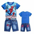 2017 Kids Clothes Baby Boys Children Clothing Suits Teenage spiderman hero Boy Set Tshirt Jeans Cartoon Clothes Sports