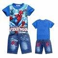 2017 meninos crianças roupas de bebê crianças ternos roupas adolescente spiderman hero menino definir calça jeans camiseta dos desenhos animados roupas esportivas