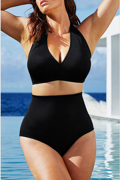Women Sexy Halter Top Bikini Set Bandage Big Size High Waisted Swimsuit Plus Bathing Suit Girl Swimwear Plus Size XL-XXXL 2020