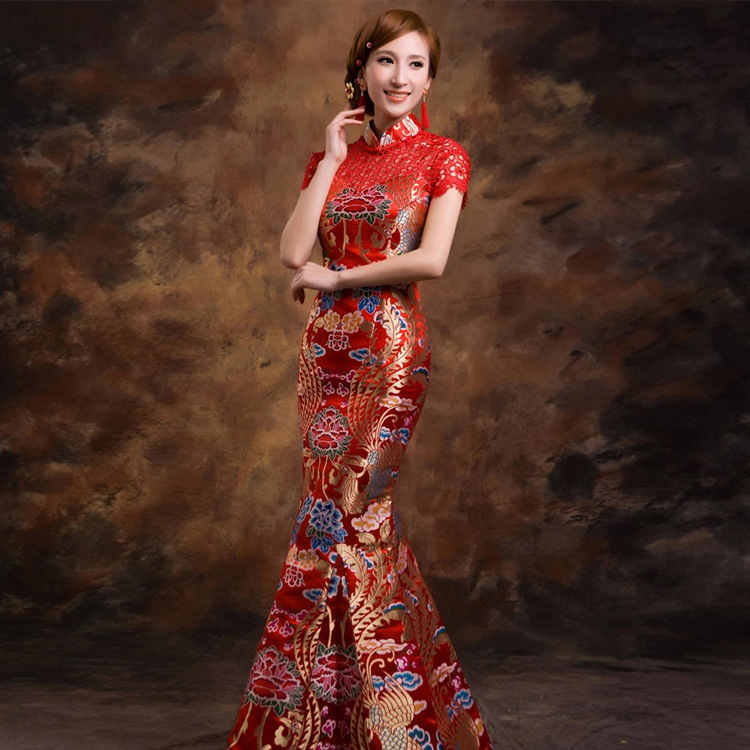 2015 New Chinese Antique Dresses Red Embroidered Cheongsam Vintage Bride Qipao Modified Long Fishtail Wedding Dress Traditional