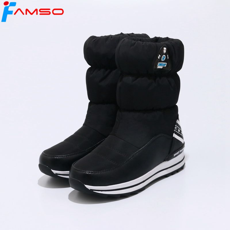 FAMSO 2017 New Arrival Women Boots Shoes black red Autumn Mid-Calf Riding Boots Winter Waterproof Keep Warm Snow Boots  SBT4602 double buckle cross straps mid calf boots