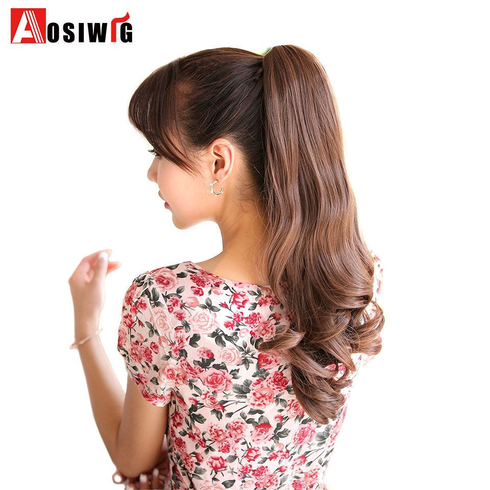 AOSI WIG 24 inch Women Short Curly Claw Ponytail Heat Resistance Synthetic Pony tail for white women ...
