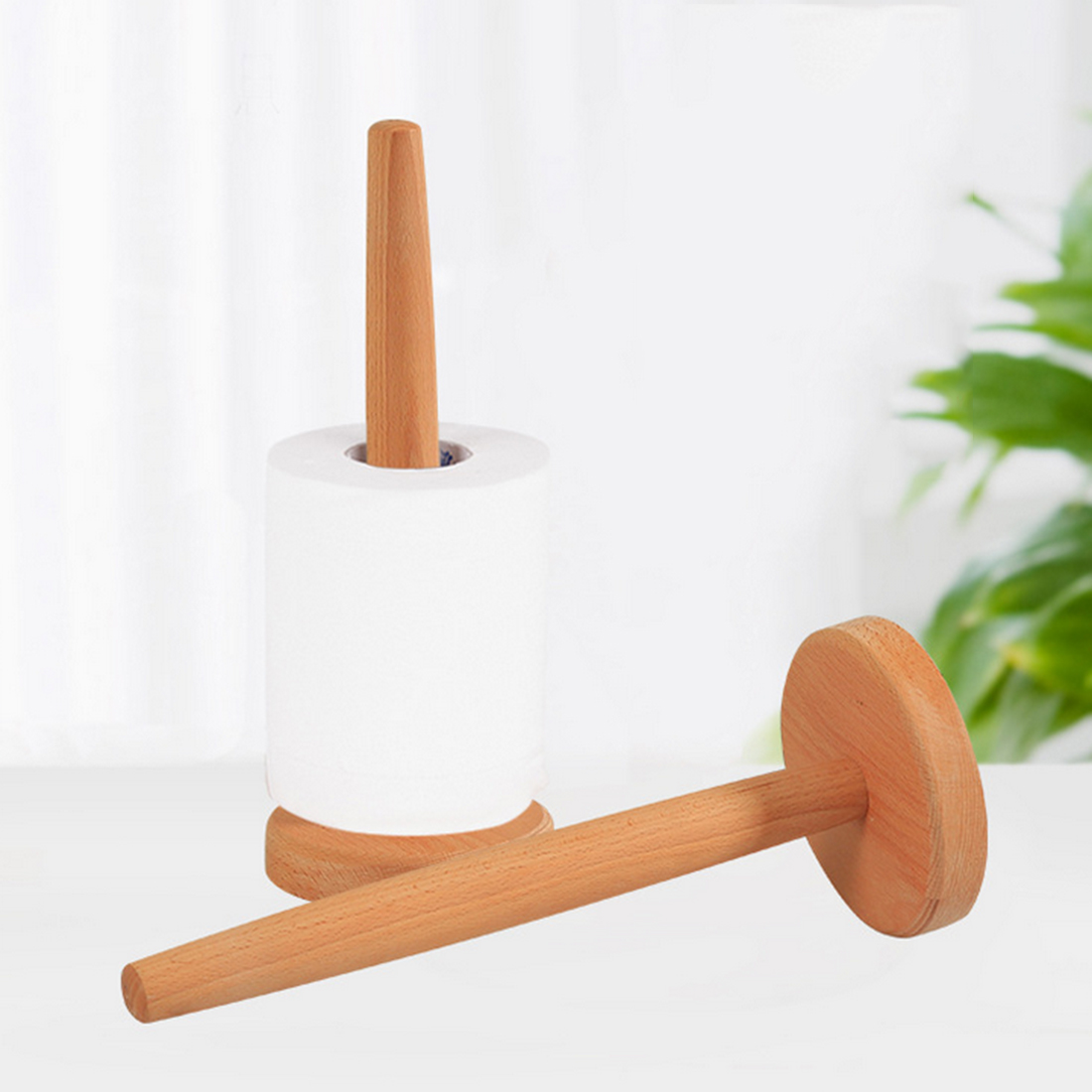 Beech Wooden Vertical Stand Roll Paper Stand Holder Kitchen Paper Towel Toilet Tissue Holder Household Kitchen Tool