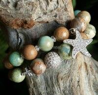 B15101603 Seidiment Jasper Beads Pave CZ Seastar Charm Micro Pave Cross Bracelets Set