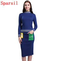 Sparsil Women Autumn O Neck Cashmere Blend Knitted Pullover Sweater Slim Skirt Set Winter Striped Style